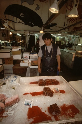 Whale meat at Tsukiji