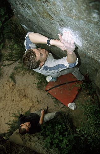 Ivan Waldren and Steve McCahill bouldering at Happy Valley Rocks in Tonbridge Wells