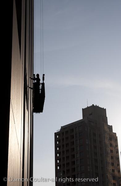 Rope access workers in Shinjuku, Tokyo, Japan
